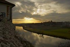 Puesta del sol en Tyniec Imagen de archivo