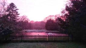 Puesta del sol en un parque Fotografía de archivo libre de regalías