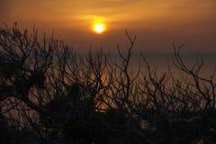 Puesta del sol en una cala Fotos de archivo