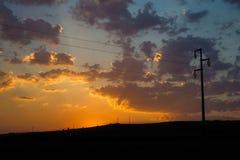 Puesta del sol en una colina Fotografía de archivo libre de regalías