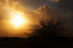 Puesta del sol en una tormenta del saludo en Kit Hill, Cornualles foto de archivo libre de regalías