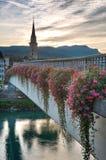 Puesta del sol en Villach, Kaernten, Austria Imagenes de archivo