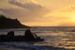 Puesta del sol en Virgin Gorda Imágenes de archivo libres de regalías