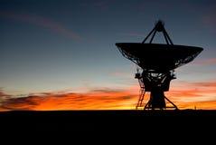 Puesta del sol en VLA New México 3 Imágenes de archivo libres de regalías
