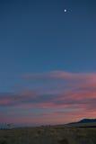Puesta del sol en VLA New México Foto de archivo libre de regalías