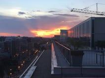 Puesta del sol en Washington, D C En el tejado que mira la grúa Fotografía de archivo