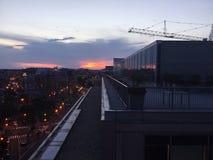 Puesta del sol en Washington, D C En el tejado que mira la grúa Foto de archivo libre de regalías