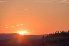 Puesta del sol en Winterberg en Alemania Imágenes de archivo libres de regalías