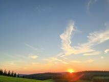 Puesta del sol en Winterberg en Alemania Imagenes de archivo