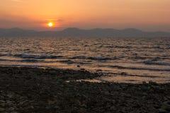 Puesta del sol en Zadar, Croacia fotos de archivo