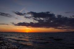 Puesta del sol en Zadar, Croacia fotografía de archivo libre de regalías