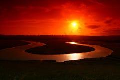 Puesta del sol encantadora Foto de archivo