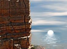 Puesta del sol entre rocas stock de ilustración