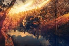 Puesta del sol escénica del parque foto de archivo libre de regalías