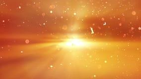 Puesta del sol escénica Partícula en fondo anaranjado almacen de metraje de vídeo