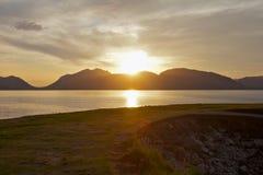 Puesta del sol escocesa del lago Imagen de archivo libre de regalías