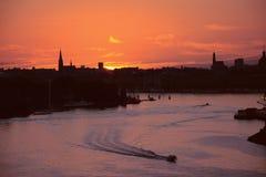 Puesta del sol Estocolmo Imagen de archivo