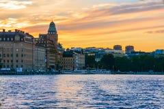 Puesta del sol Estocolmo foto de archivo libre de regalías