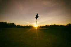 Puesta del sol exclusiva del campo de golf del desierto de Arizona Fotos de archivo libres de regalías