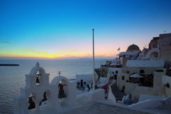 Puesta del sol famosa de Santorini Fotos de archivo libres de regalías