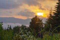 Puesta del sol fantástica en pueblo de montaña Fondo colorido tranquilo Foto de archivo