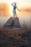 Puesta del sol femenina de la salida del sol del robot de Android de la mujer Imagen de archivo libre de regalías