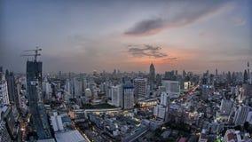 Puesta del sol Fisheye del horizonte de Bangkok almacen de video