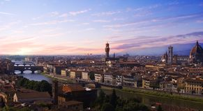 Puesta del sol Florencia Imágenes de archivo libres de regalías