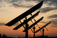 Puesta del sol fotovoltaica Imagenes de archivo