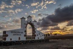 Puesta del sol gloriosa en Antigua, Fuerteventura, islas Canarias, España, Europa imagen de archivo libre de regalías
