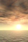 Puesta del sol gloriosa sobre el mar ilustración del vector