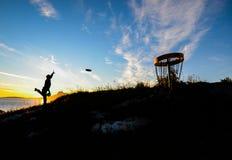 Puesta del sol del golf del disco Imagen de archivo