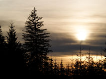 Puesta del sol gris dramática, humor triste Imagen de archivo libre de regalías