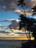 Puesta del sol hawaiana foto de archivo