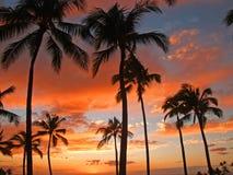 Puesta del sol hawaiana el vacaciones Imágenes de archivo libres de regalías