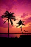 Puesta del sol hawaiana en la isla grande imagen de archivo