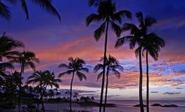 Puesta del sol hawaiana imponente en el centro turístico de Koolina Imágenes de archivo libres de regalías