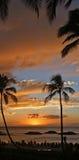 Puesta del sol hawaiana magnífica en el centro turístico de Koolina Foto de archivo
