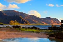 Puesta del sol Hawaii de la montaña Imágenes de archivo libres de regalías
