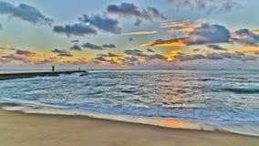 Puesta del sol HDR de Oporto del lapso de tiempo de la playa