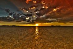 Puesta del sol HDR del lago seco imagen de archivo libre de regalías