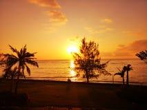 puesta del sol hermosa del ?? fotografía de archivo
