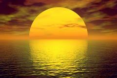 Puesta del sol hermosa ilustración del vector