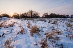 Puesta del sol hermosa cerca de los campos Fotografía de archivo