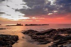 Puesta del sol hermosa de la playa Imagen de archivo libre de regalías