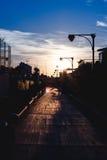 Puesta del sol hermosa de la 'promenade' Fotos de archivo libres de regalías