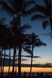 Puesta del sol hermosa de Waikiki Foto de archivo