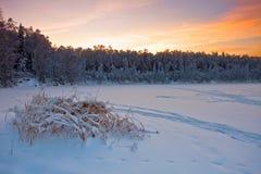Puesta del sol hermosa del invierno Imagen de archivo