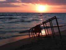 Puesta del sol hermosa del mar Imagen de archivo