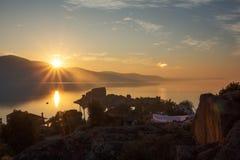 Puesta del sol hermosa del paisaje Foto de archivo libre de regalías